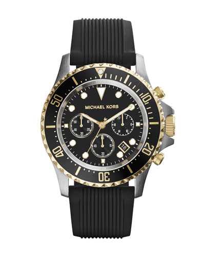 Michael Kors  Oversize Black Silicone Everest Chronograph Watch
