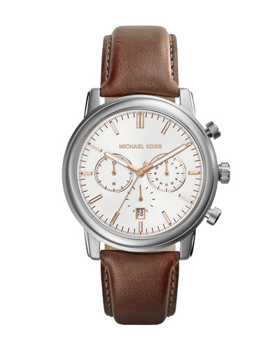 Michael Kors  Mid-Size Tan Leather Pennant Chronograph Watch