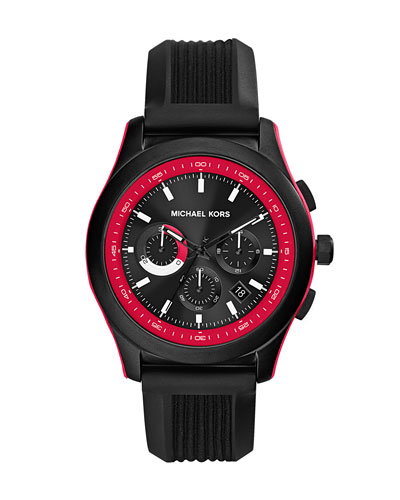 Michael Kors  Mid-Size Black Silicone Outrigger Chronograph Watch