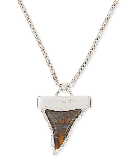 Silvertone Shark Tooth Necklace with Tiger Iron, 36""