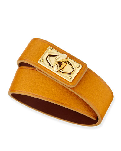 Calfskin Leather Wrap Bracelet, Mustard