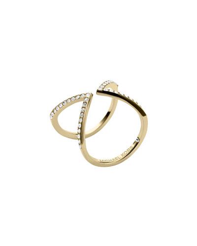 Michael Kors  Open Arrow Pave Ring, Golden