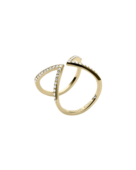 Open Arrow Pave Ring, Golden