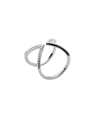 Michael Kors  Open Arrow Pave Ring, Silver Color