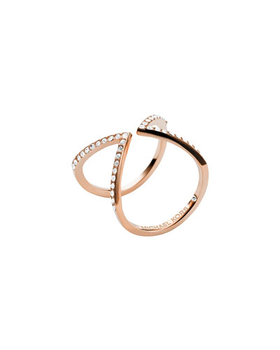 Michael Kors  Open Arrow Pave Ring, Rose Golden