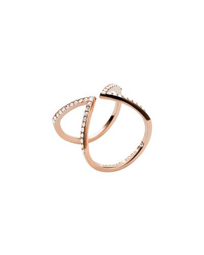 Michael Kors  Open Arrow Pave Ring, Rose Golden