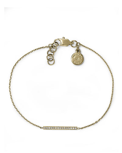 Pave Bar Delicate Bracelet, Golden
