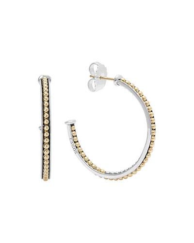 Lagos 35mm Sterling Silver & 18k Enso Hoop Earrings