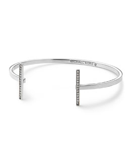 Michael Kors  Pave Bar Open Cuff, Silver Color