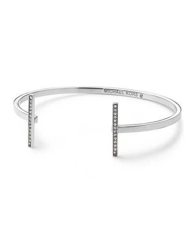 Michael Kors  Pave Bar Open Cuff, Silver Color