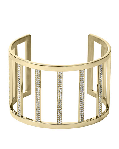 Michael Kors  Wide Pave Bar Cuff, Golden