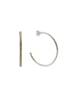 Lagos 60mm Sterling Silver & 18k Enso Hoop Earrings