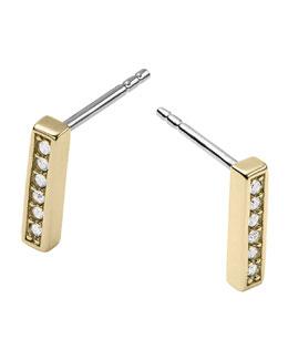 Michael Kors  Pave Bar Post Earrings, Golden