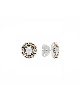 Lagos 12mm Sterling Silver & 18k Enso Stud Earrings
