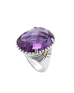 Lagos Silver Amethyst Ring with 18k Gold