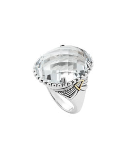 Lagos Silver White Topaz Ring with 18k Gold