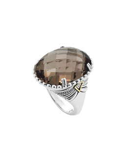 Lagos Silver Smoky Quartz Ring with 18k Gold