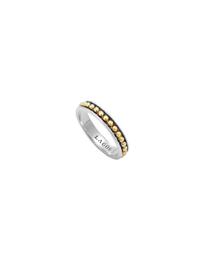 Lagos 3mm Stackable Silver & 18k Enso Ring
