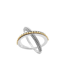 Lagos Sterling Silver & 18k Enso Crossover Ring