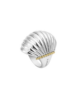 Lagos Silver Fluted Statement Ring with 18k
