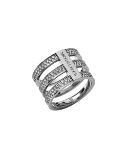 Michael Kors  Triple-Stack Pave Ring, Silver Color