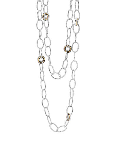 Silver Enso Link Chain Necklace with 18k