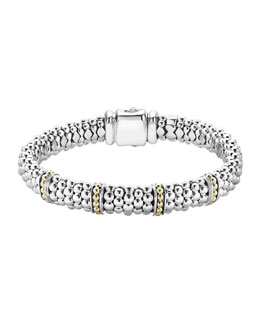 Lagos 9mm Sterling Silver Enso Bar Caviar Rope Bracelet