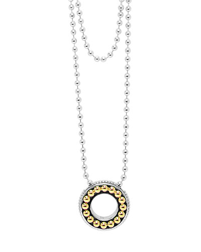 Sterling Silver & 18k Enso Slider Pendant Necklace