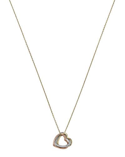 Michael Kors  Tri-Tone Heart Necklace, Multi