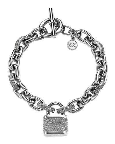 Michael Kors  Pave Padlock Bracelet, Silver Color