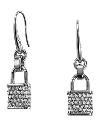 Michael Kors  Pave Padlock Drop Earrings, Silver Color