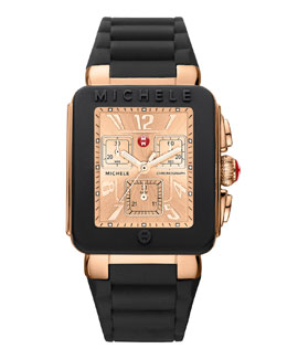 MICHELE Park Jelly Bean Watch, Black/Rose Gold