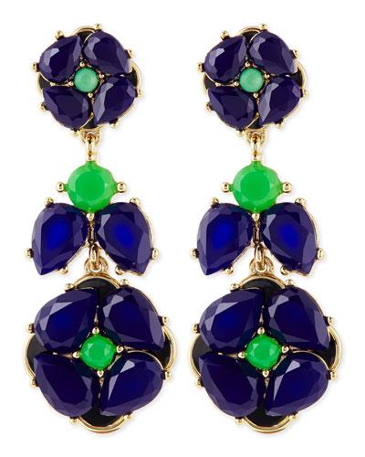 kate spade new york izu petals statement earrings, blue