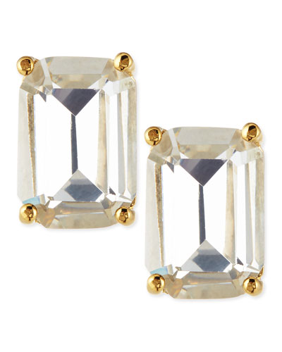 emerald-cut crystal earrings, clear