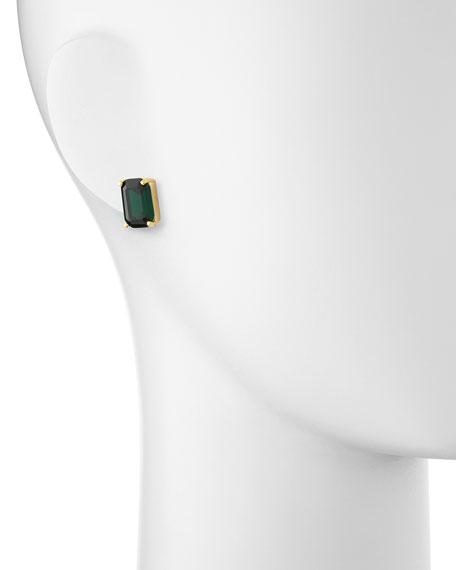 emerald-cut crystal earrings, green