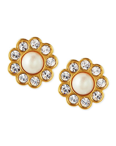 faux pearl flower stud earrings