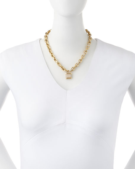 Pave Padlock Toggle Necklace, Golden
