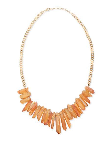 Graduated Prism Stone Bib Necklace, Peach