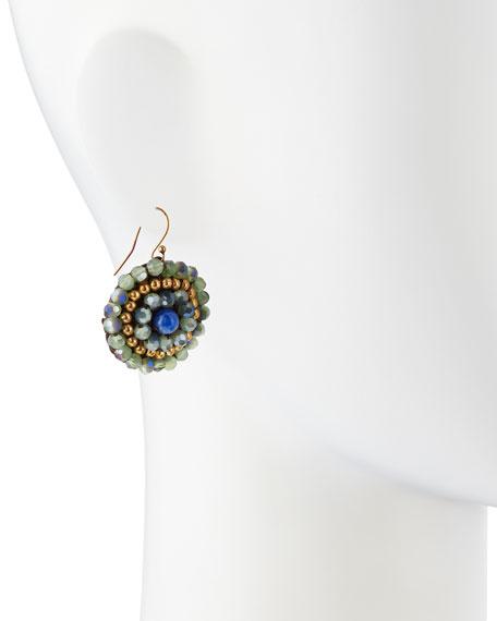 Triple-Tone Beaded Dangle Earrings, Blue