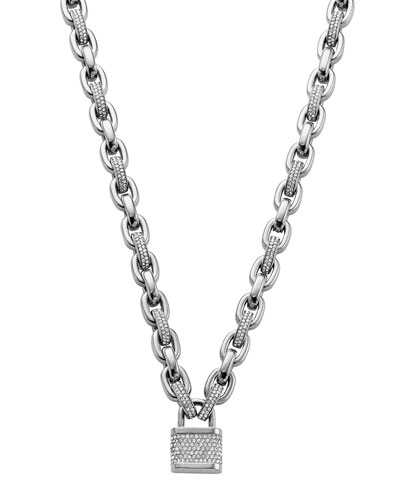 Michael Kors  Pave Padlock Toggle Necklace, Silver Color