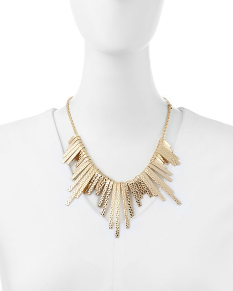Hammered Golden Reversible Statement Necklace