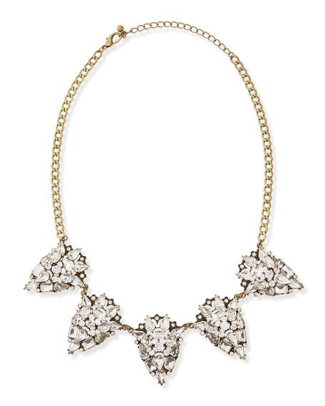 Antique-Golden Crystal Statement Necklace