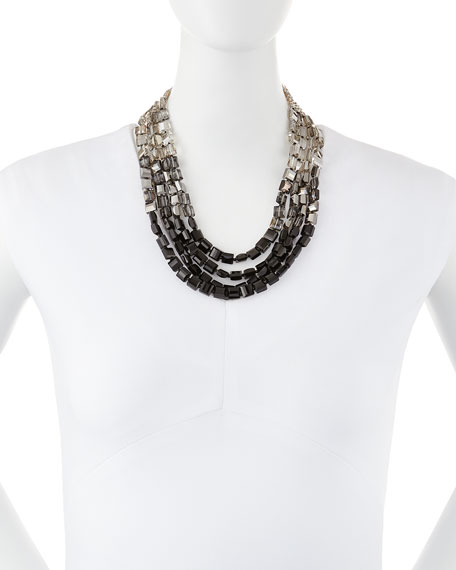 Ombre Station Statement Necklace, Clear/Smokey/Jet