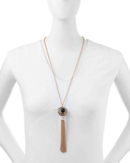 Beaded Chain Tassel Necklace, Black