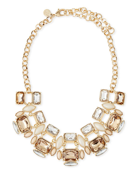 Mixed Crystal Collar Necklace, White