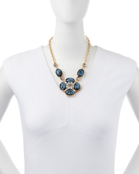 Ornate Layered Crystal Bib Necklace, Blue/Brown