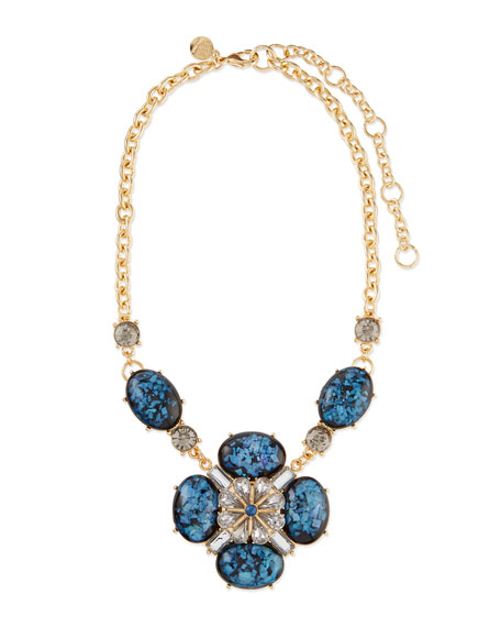 Lee Angel Ornate Layered Crystal Bib Necklace, Blue/Brown