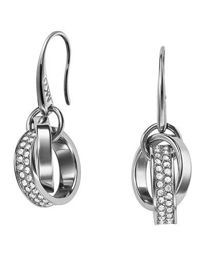 Michael Kors  Pave Link Drop Earrings, Silver Color