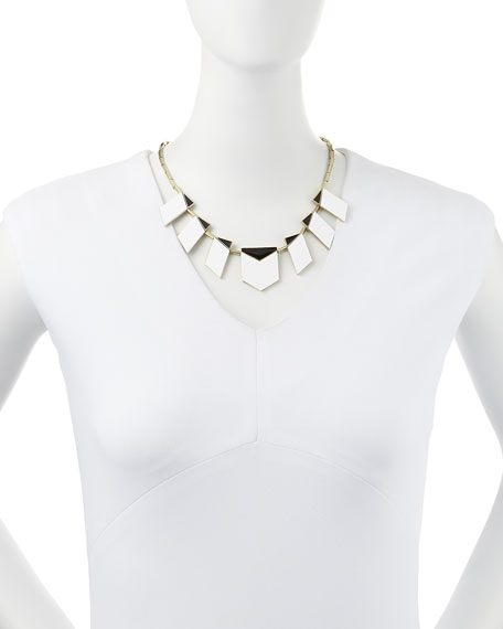 Two-Tone Modern Motif Station Necklace, White/Black