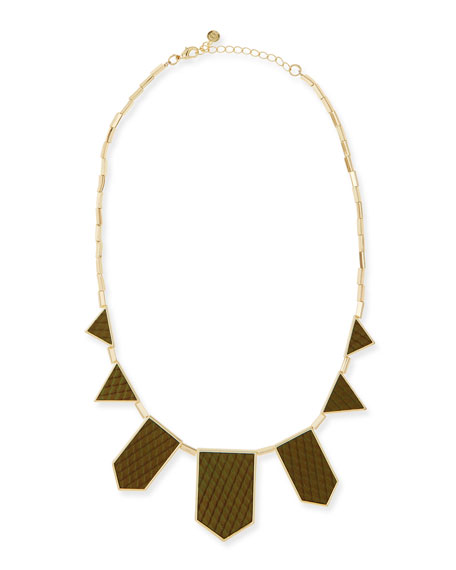Geometric Snake-Embossed Leather-Inlay-Station Necklace, Olive